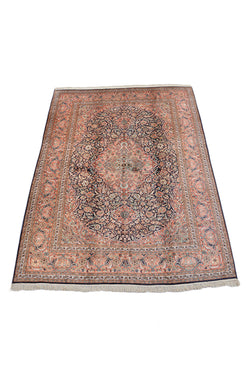 Large Oriental Medallion 8x11 Area Rug with Coral Pink and Black Medallion | Bordered Rug Hand Knotted with Wool and Silk