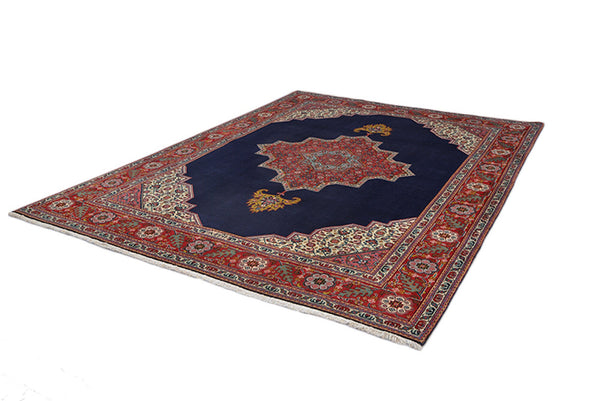 8 x 10 Red Navy Black Medallion Rug | Handmade Area Rug | Oriental Persian Rug | Living Room Rug | Wool Traditional Vintage | Large Oriental