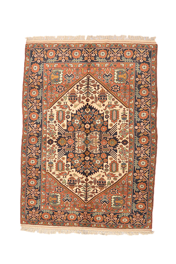 Rust Orange Blue Vintage Tribal Medallion Rug | 4x7 Handmade Oriental Area Rug | Rustic Home Decor Living Wool Accent