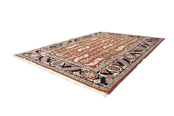 Orange Blue Oriental 6x8 Antique Rug | Accent One of a Kind Living Room Rug with Persian Motifs and Navy Blue Border