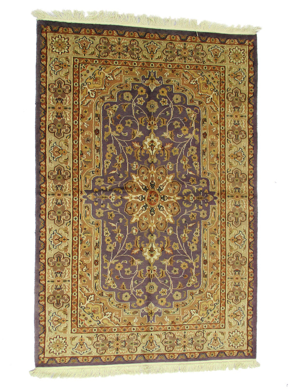 One of a kind Purple Beige Antique Rug | 4 x 6  Hand Knotted with Silk and Wool | Oriental Medallion Floor Rug