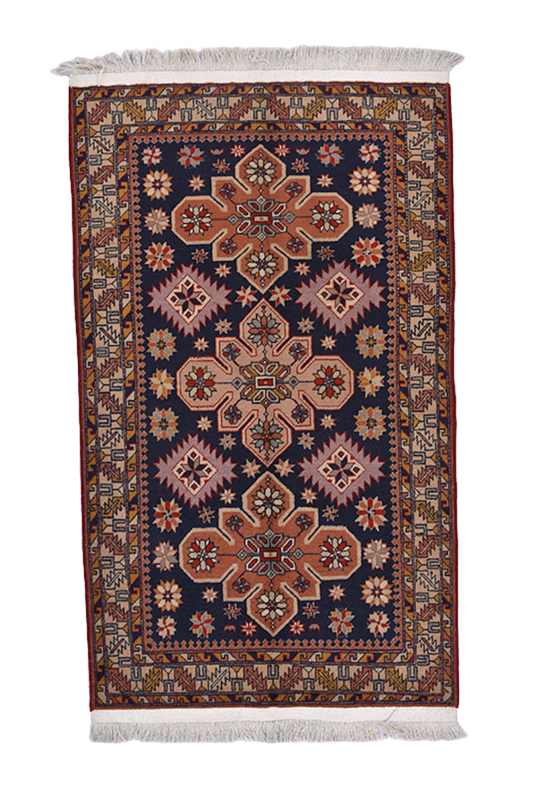 Vintage Tribal 3 x 5 Ft Geometric Area Rug | Wool Hand Knotted Rug | Orange Navy Floral Medallion | Baby Room Rug