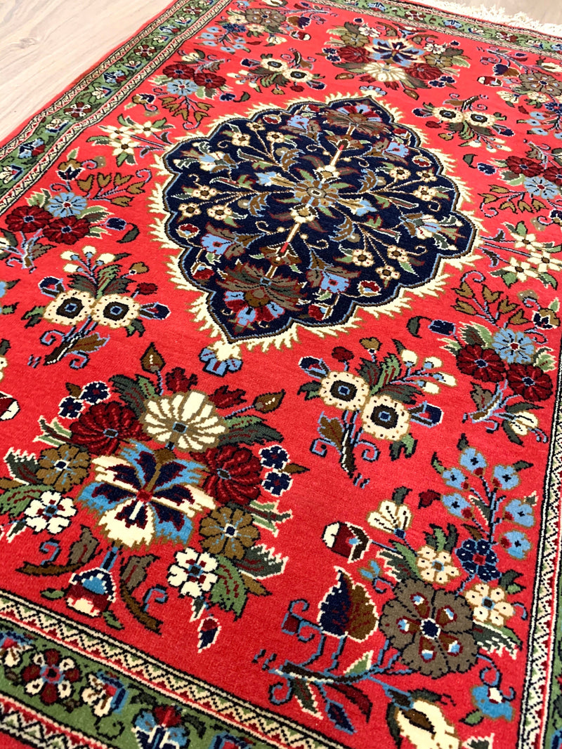 Bright Orange Oriental Rug with Navy Medallion | 3 x 4 Persian Caucasian Rug | Hand Woven Wool