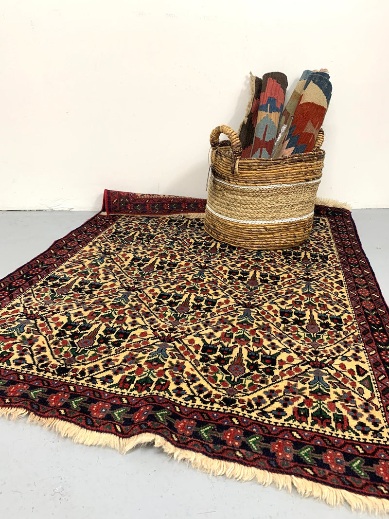 One of a kind Red Beige Antique Rug | Small Persian Caucasian Rug | Living Room Rug | Accent Hand Woven Rug | Oriental Geometric Pattern Rug