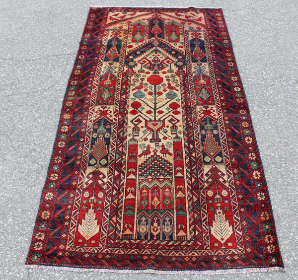 Red Navy 3x6 Vintage Tribal Accent Persian Style Rug