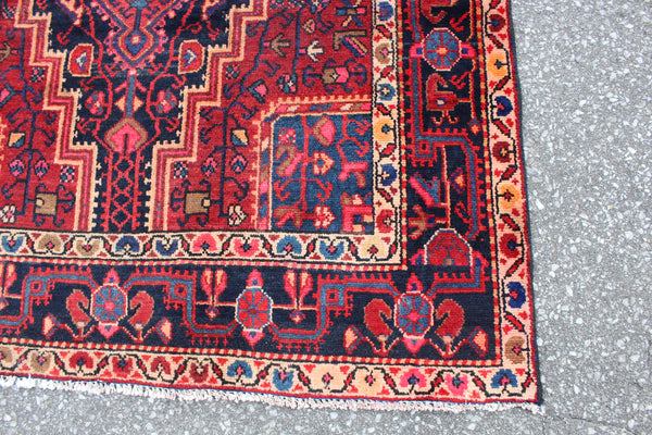 Red Orange 5x7 Navy Oriental Persian Style Rug