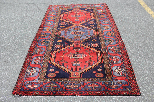 Bold Red and Blue Rug with Navy Blue Accents | 5x7 Tribal Persian Rug