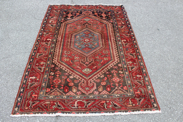 Rust Red Green Grey 4x6 Persian Style Hand Knotted Vintage Rug