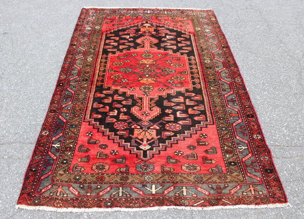 Dark Coral Black Medallion Teal Border 4x7 Vintage Tribal Oriental Persian Handmade Rug