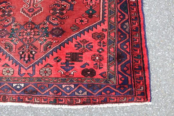 Bring Pink Red Blue 4x7 Vintage One of a Kind Hand Knotted Rug