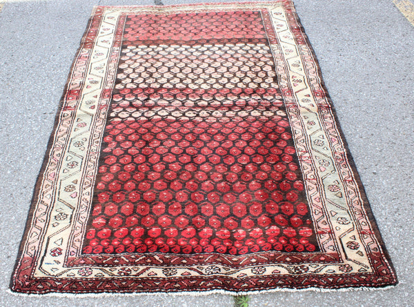 Red White 4x7 Vintage Tribal Handmade Rug