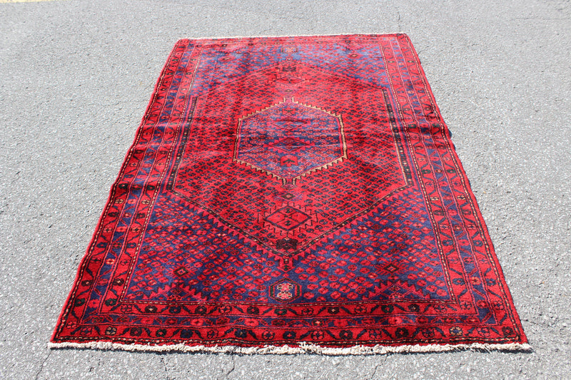 Red Blue 5x7 Vintage Tribal Oriental Handmade Rug with Hexagon Medallion