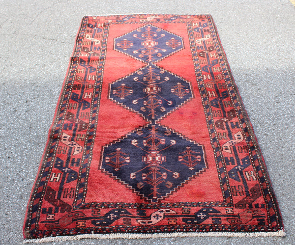 Bright Red Long Rug with 3 Blue Persian Medallions | Wool Handmade