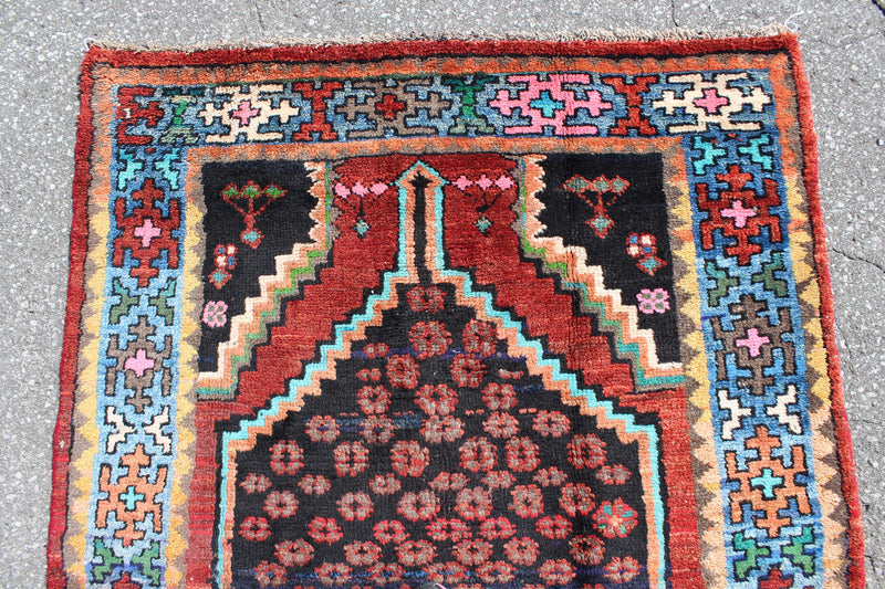Red Rug with Blue & Navy Border 4x7 Vintage Tribal Handmade Rug
