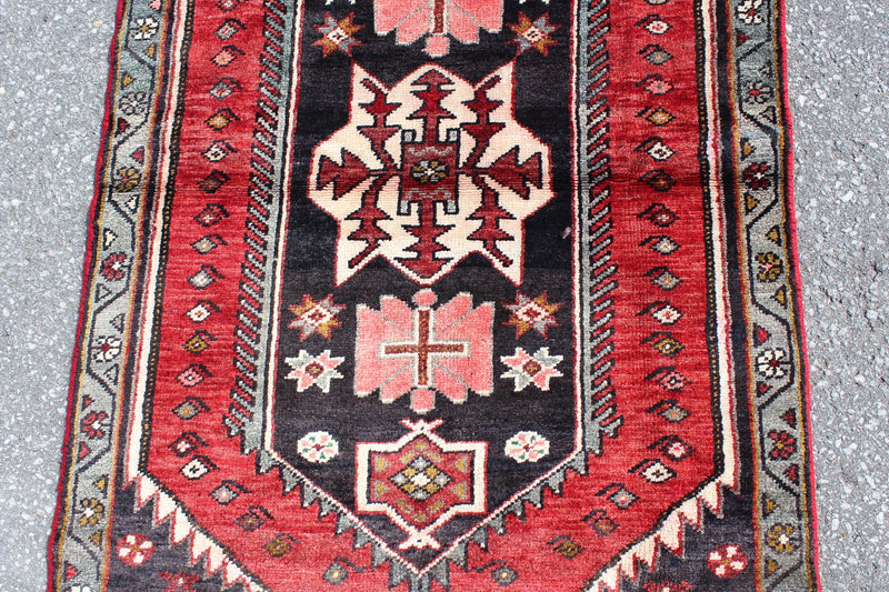 Red Black Grey 2x6 Runner Rug Vintage Tribal Handmade Rug