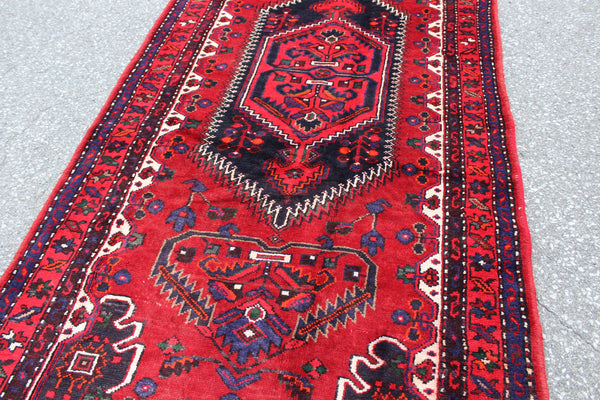 Vibrant Red Blue 4x7 Vintage Wool Area Rug
