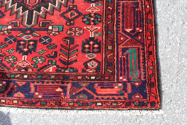 Red Black 4x7 Vintage Wool Area Rug