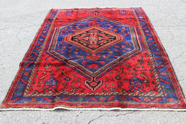 Red Blue 4x7 Vintage Hand Knotted Rug