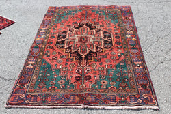 Red Green 6x7 Vintage Handmade Rug
