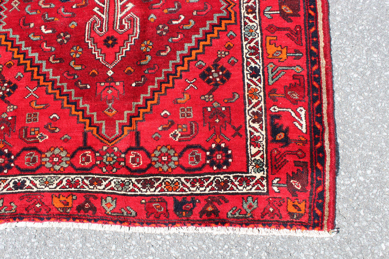 Red 5x7 Vintage Persian Hand Knotted Area Rug