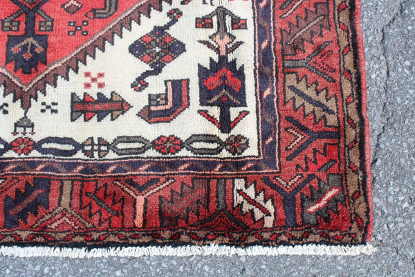 Red White 4x7 Vintage Wool Area Rug