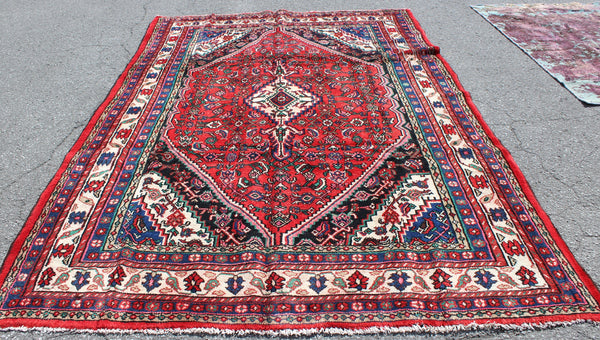 Red 6x9 Vintage Handmade Rug with Blue Geometric Details