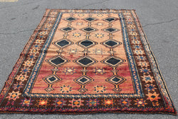 Bright Red Blue 5x7 Area Rug | Handmade Vintage Persian Rug
