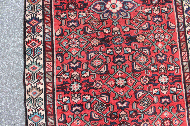 Red 3x7 Vintage Oriental Rug with Turquoise Navy Floral