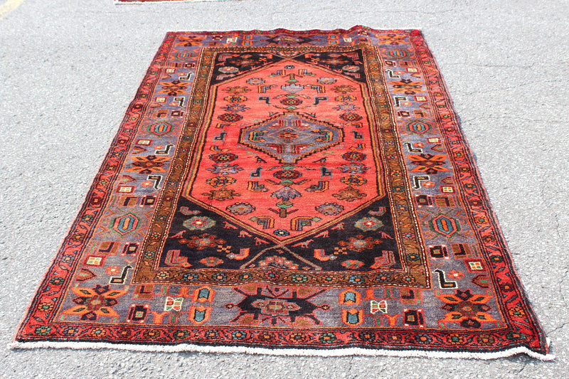 Red Blue 5x7 Vintage Tribal Hand Knotted Rug