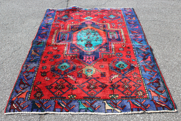 Red Blue 4x6 Vintage Tribal One of a Kind Rug