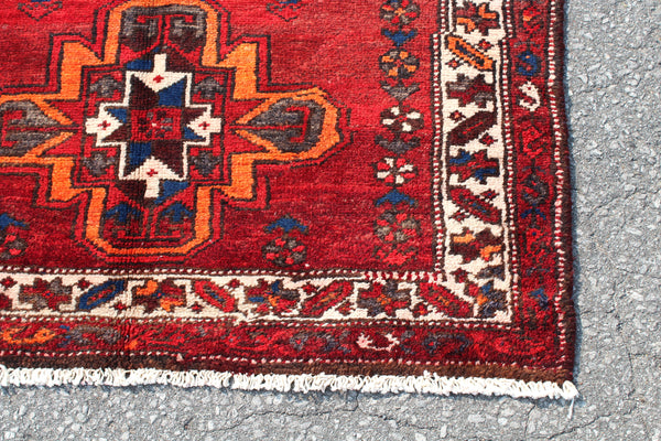 Red Handmade 3x6 Turkish Rug with Orange Green Accent