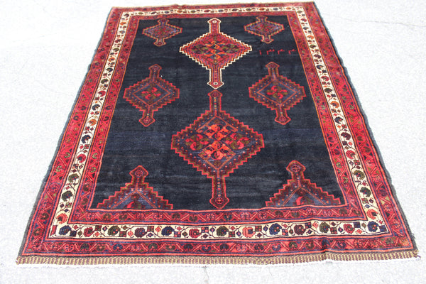 Navy Blue Rug with Red Border 5x6 Hand Knotted Tribal Rug