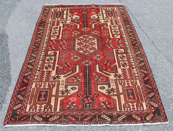 Red Beige 4x6 Handmade Turkish Rug with Green Border