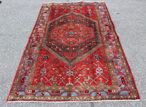 Red Blue 4x7 Vintage Wool Area Rug