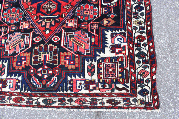 Red Navy Blue 4x6 Oriental Persian Design Handmade Rug