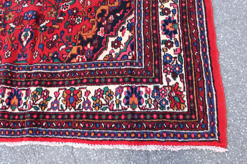 Bright Colored Red 7x10 Handmade Wool Vintage rug