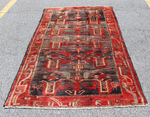 Red Black 4x8 Vintage Wool Area Rug