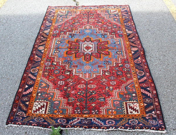 Red Coral Orange Navy Blue 4x6 Vintage Persian Handmade Rug