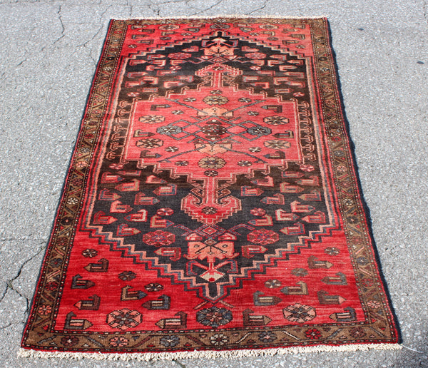 Bright Red with Navy Medallion Rug 3x6 | Hand Knotted Vintage
