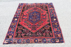 Pink Rug 4x6 with Blue Border & Navy Medallion | Vintage Hand Knotted
