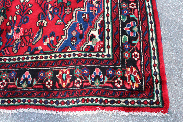 Red Blue  7x10 Handmade Bright Turkish Oriental Area Rug