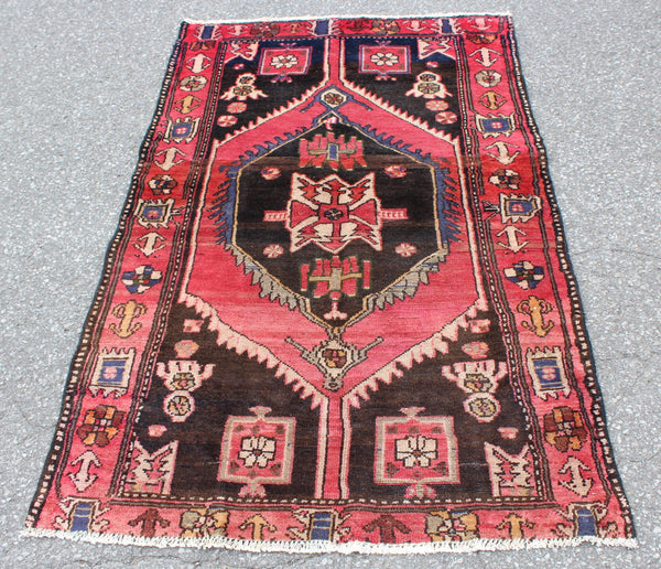 Pink Brown 3x5 Hand Knotted One of a Kind Area Rug