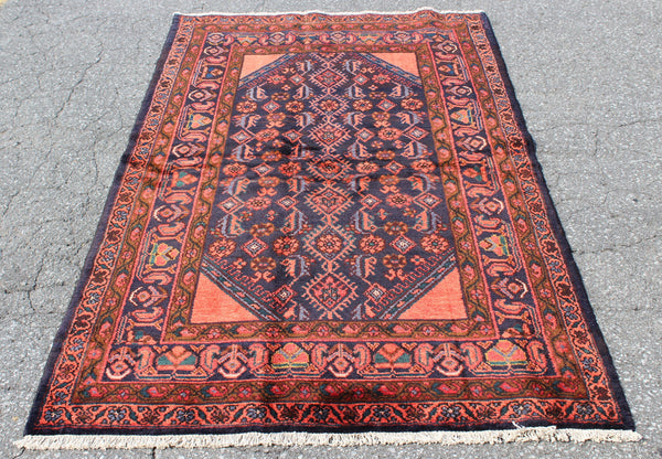 Red Blue 4x7 Vintage One of a Kind Rug