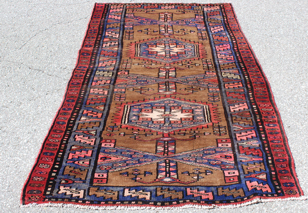 Brown Blue 4x7 Vintage Tribal Oriental Persian Handmade Rug