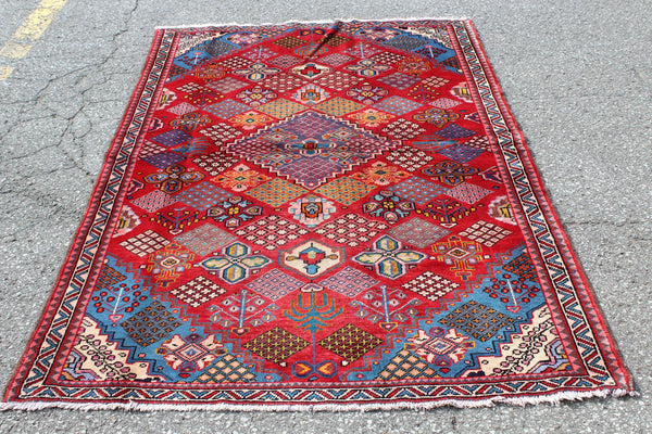 Red Blue 4x7 Vintage Tribal Handmade Rug