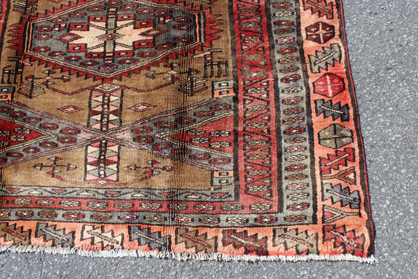 Red Brown 4x8 Vintage Wool Area Rug