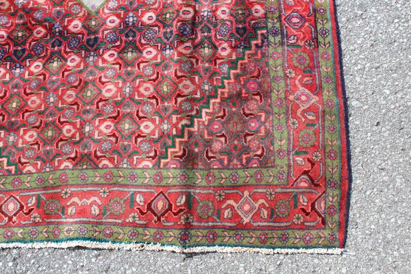 Red Pink White Medallion 4x7 Vintage Wool Area Persian Style Rug