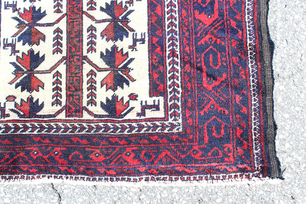 Red White 3x6 Vintage Hand Knotted Rug