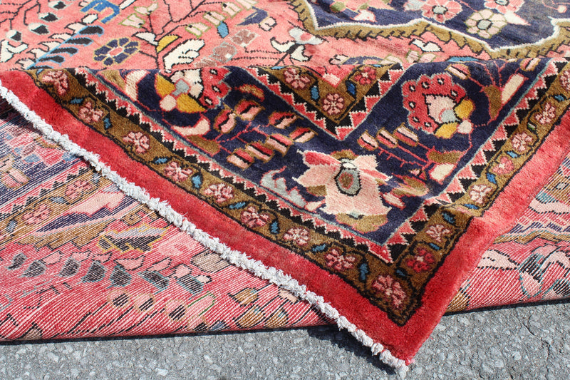 Coral 5x7 Hand Knotted Vintage Oriental Persian Handmade Rug