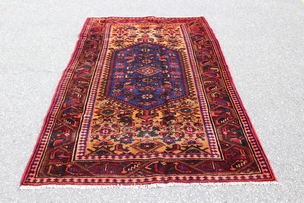 Red Orange 4x7 Vintage Hand Knotted Rug